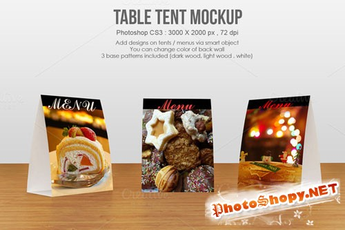 Table tent / menu Mockup - Creativemarket 236776
