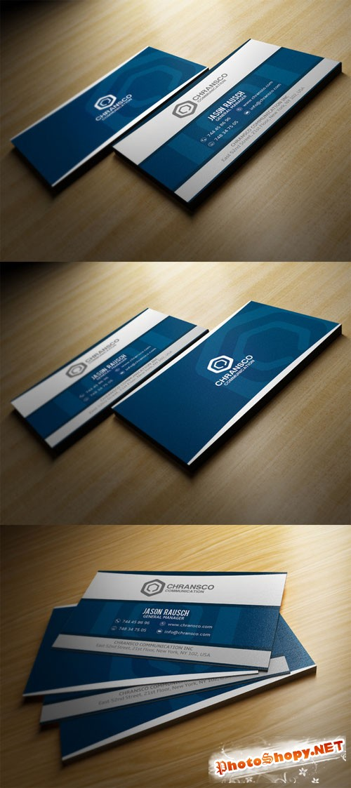 Creativemarket White And Blue Business Card 198089
