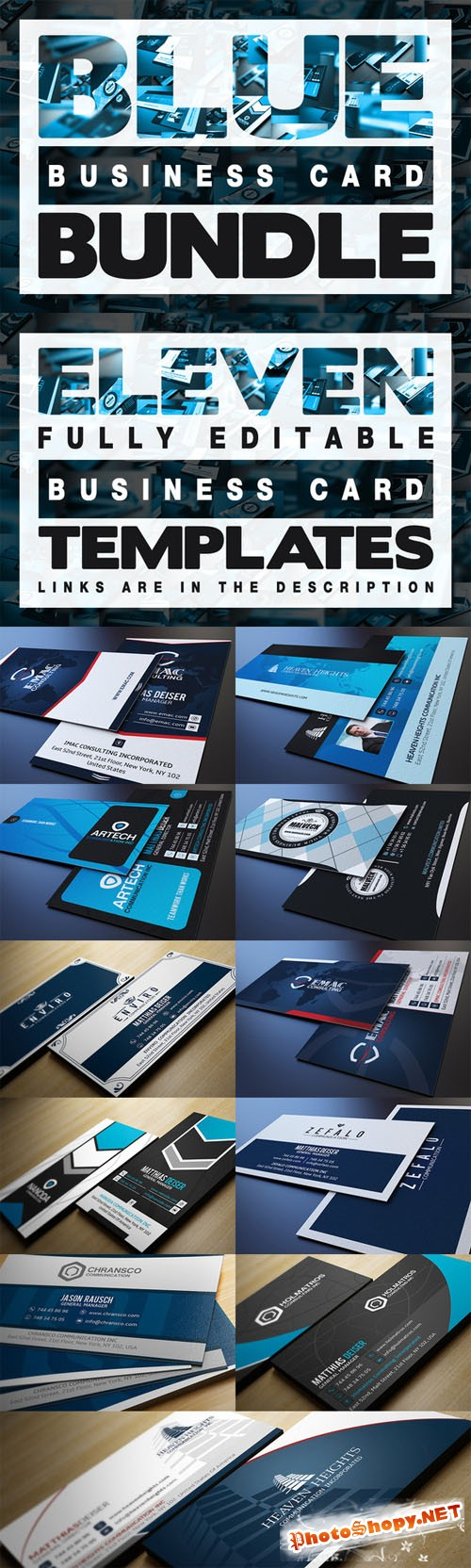 Blue Business Card Bundle (x11) - Creativemarket 199449
