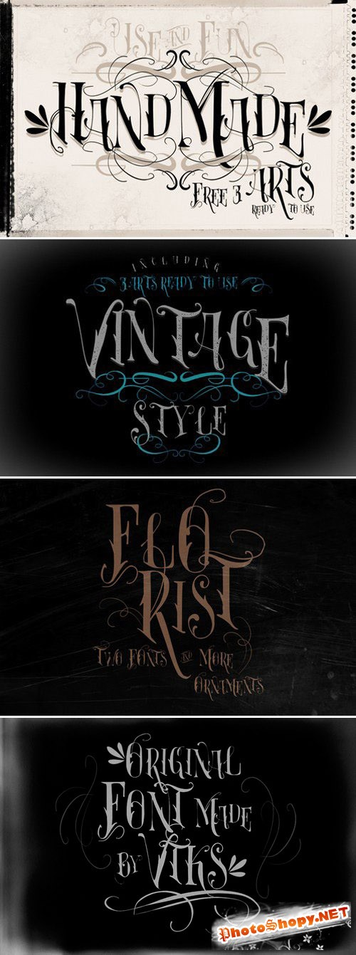 Florist Font by VTKS plus 4 arts