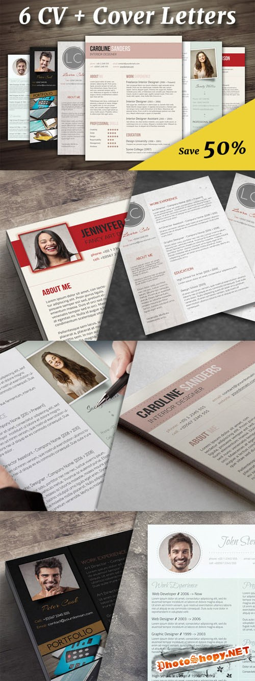6 CV + Cover Letters Creativemarket 152730