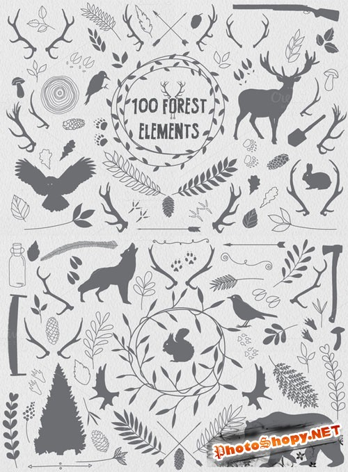 100 Forest elements - Creativemarket 73718