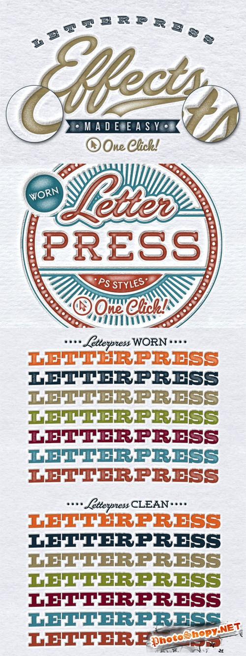 Worn Letterpress Photoshop Styles - Creativemarket 157033