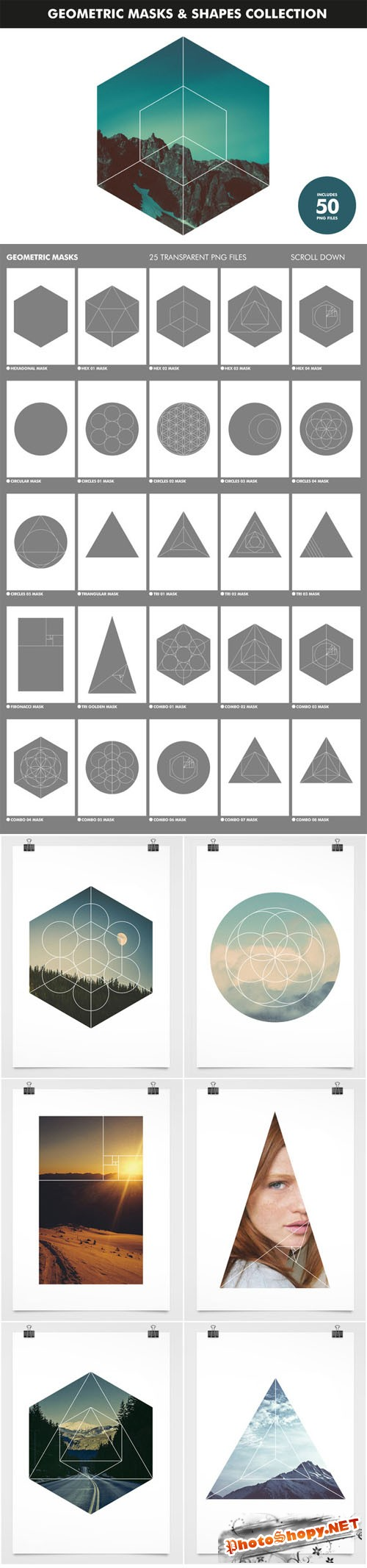 Geometric Masks & Shapes Collection - Creativemarket 195489