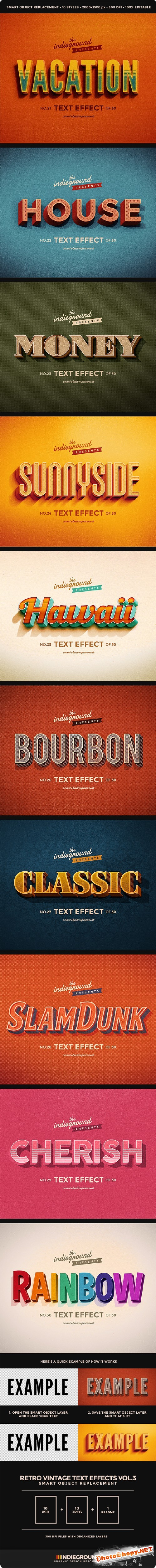 Retro Vintage Text Effects Vol. 3 - Graphicriver 10457336