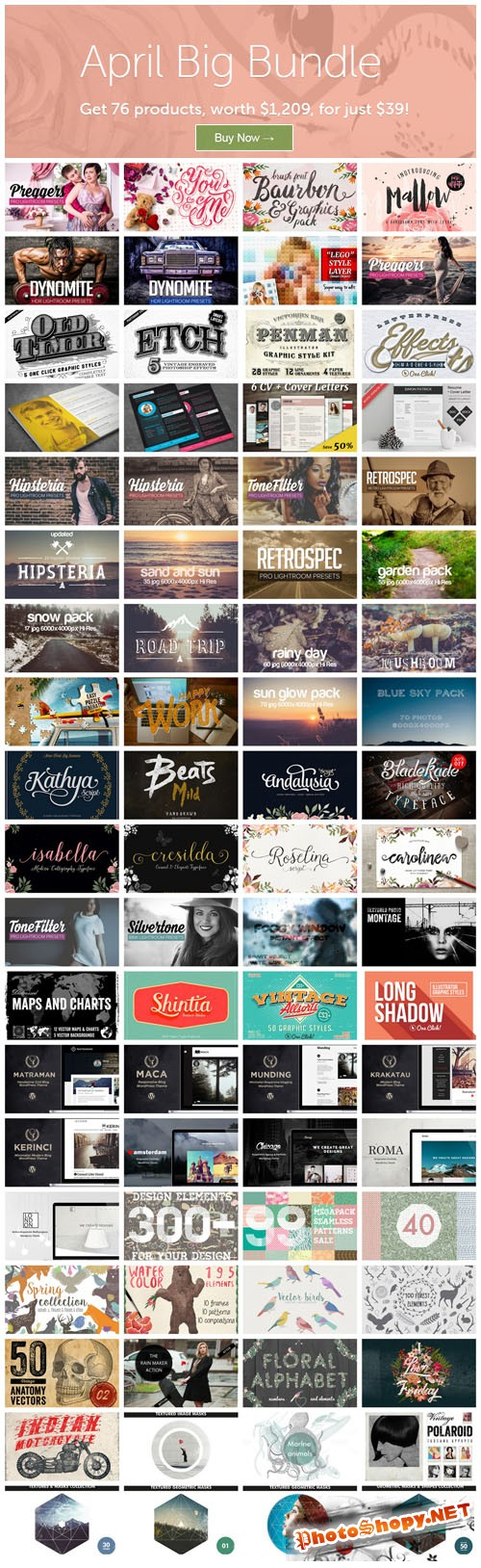 April Big Bundle 2015 - 76 Premium Creativemarket Items