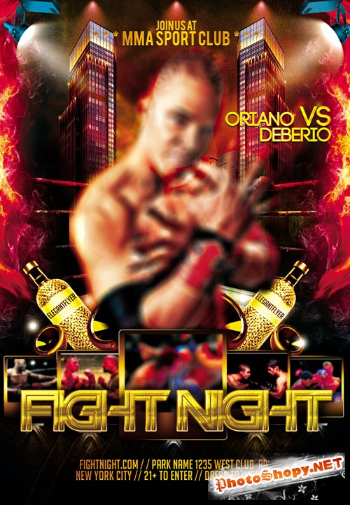 Flyer Template PSD - Fight Night