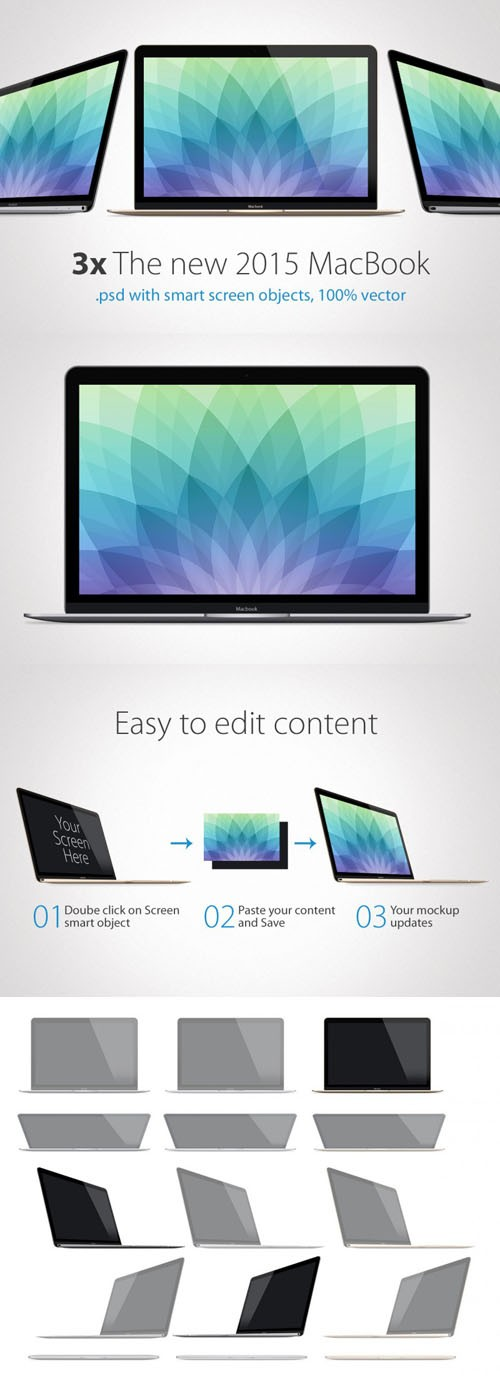 2015 MacBook Presentation Mock-Up Templates