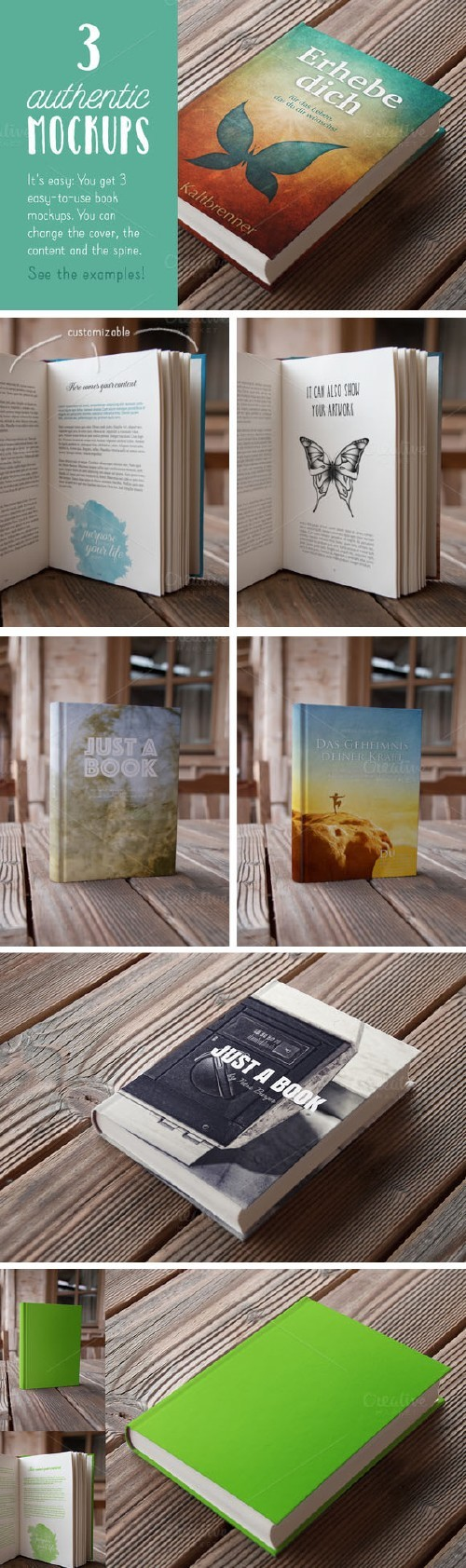 Authentic Book Mockups Vol. 01 - Creativemarket