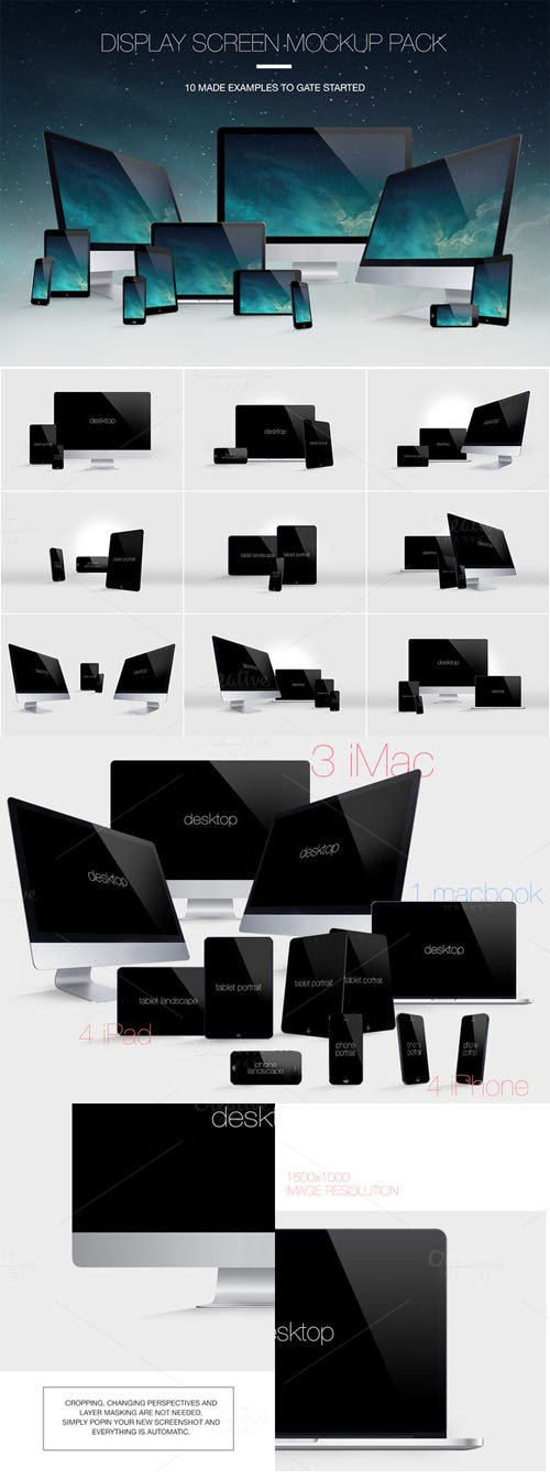 Display Screen Mockup Pack - Creativemarket 59223