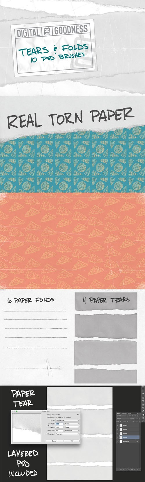 Tears and Folds PSD Brushes - Creativemarket 250274