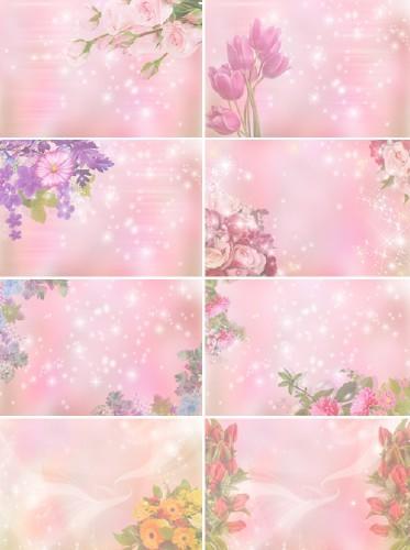 Цветочные поздравительные фоны в розовых тонах