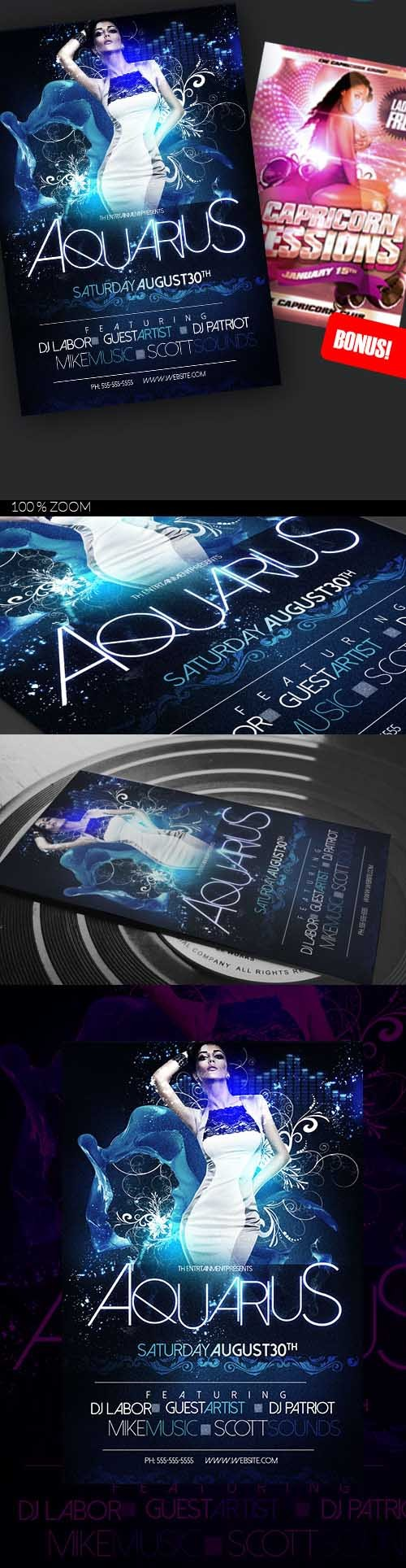 2 Flyer Template - Aquarius Party
