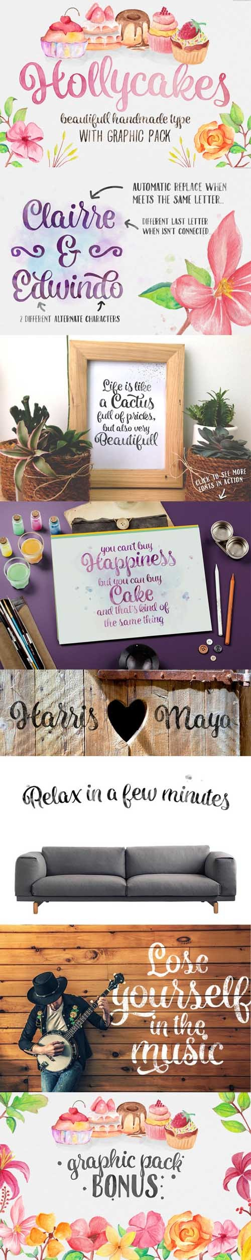Hollycakes Fonts with Graphic Pack