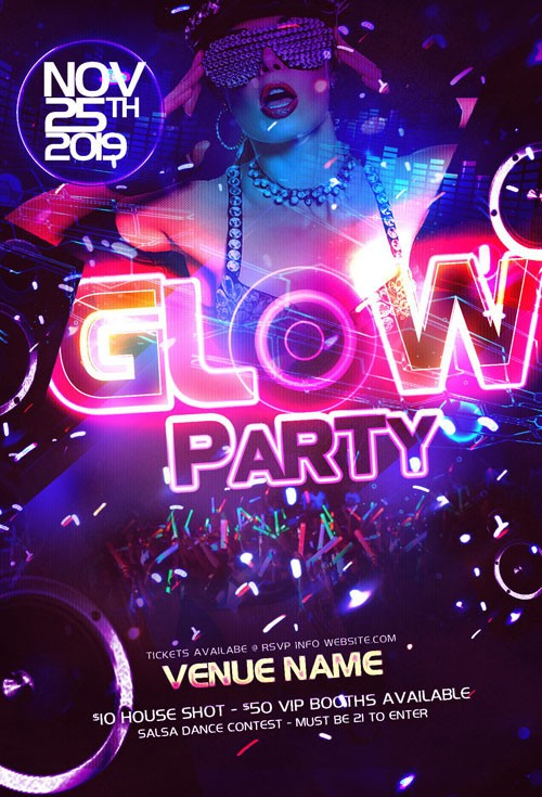 Party Flyer Template PSD - Neon Glow