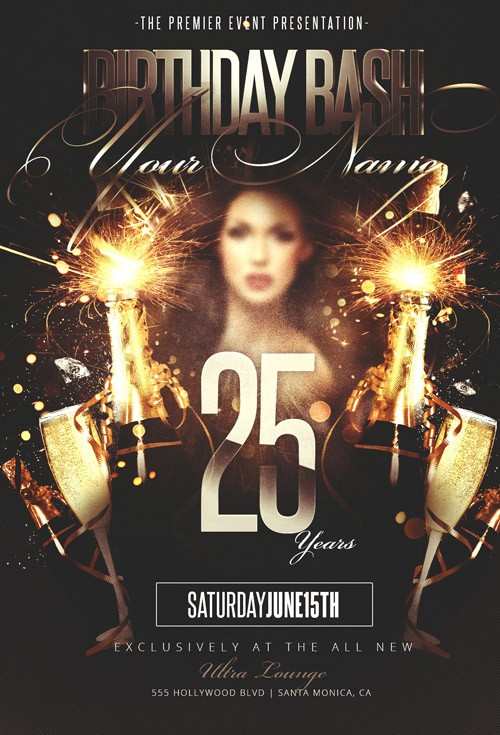 PSD Flyer Template - Birthday Bash Party