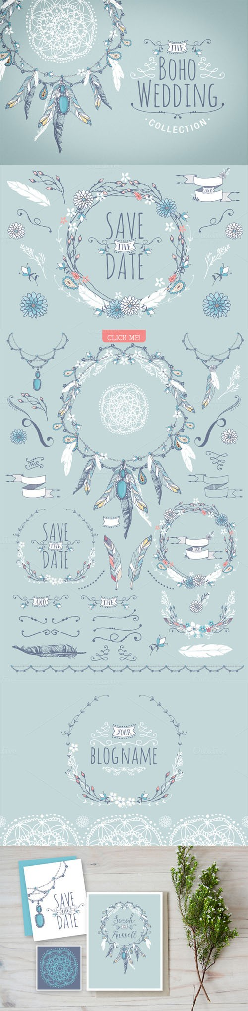 Creativemarket - Boho chic wedding & blog collection 73198