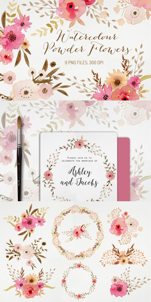 Creativemarket - Watercolour Powder Flowers 230313