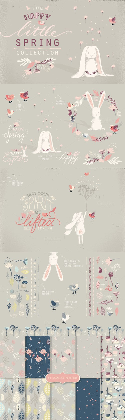 Creativemarket - The Happy Little Spring Collection 214251