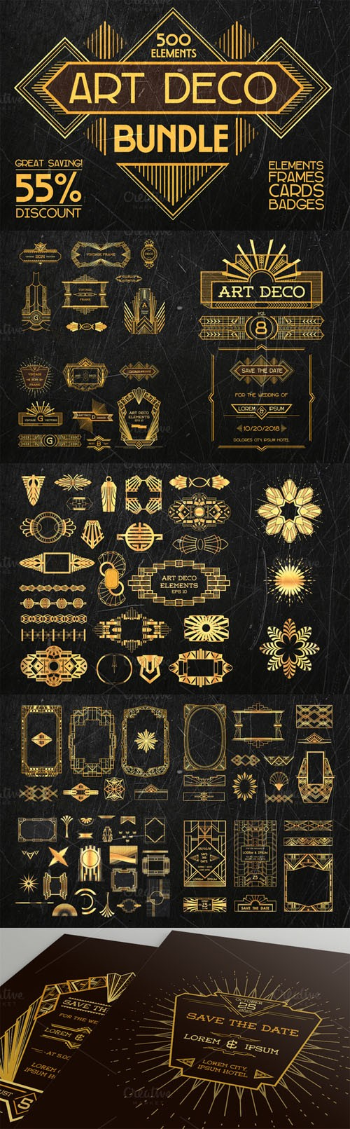 Creativemarket Art Deco Bundle 500 elements 229156