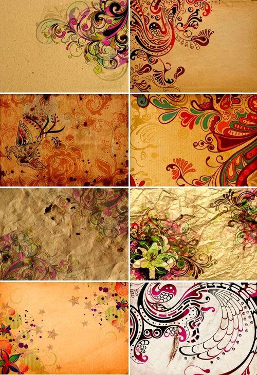 Цветы и узоры на старой бумаге