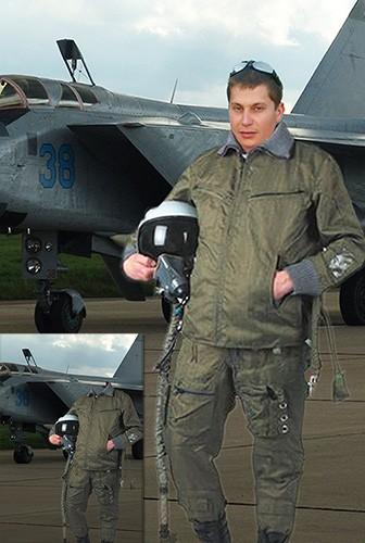Мужской фотошаблон - Летчик-истребитель