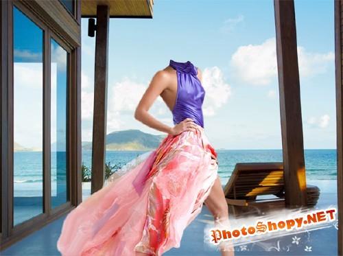 Photoshop шаблон - На красивой террасе