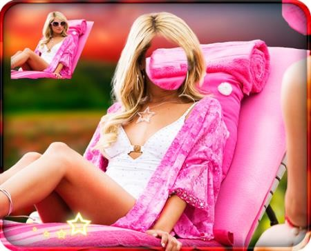 Шаблон для фото - Звезда в розовом