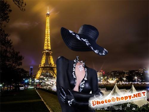 Шаблон для фотомонтажа - В платье по вечернему Парижу
