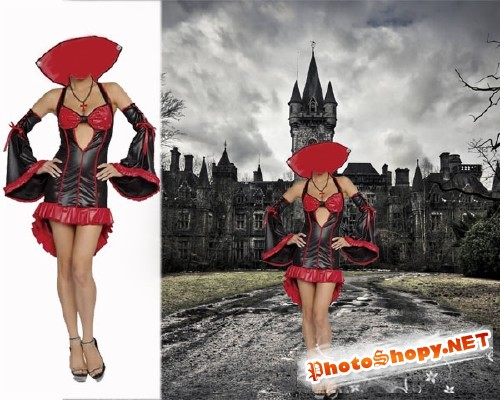 Шаблон для фотошопа - Вампирша на хэллоуин