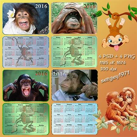 Набор карманных календариков на 2016 год - Смешные обезьяны