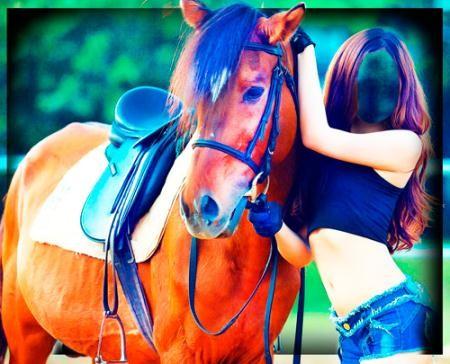 Фотошаблон для фотошоп - Девушка с лошадью