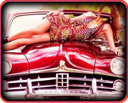 Фотошаблон для фото - Красавица на ретро авто