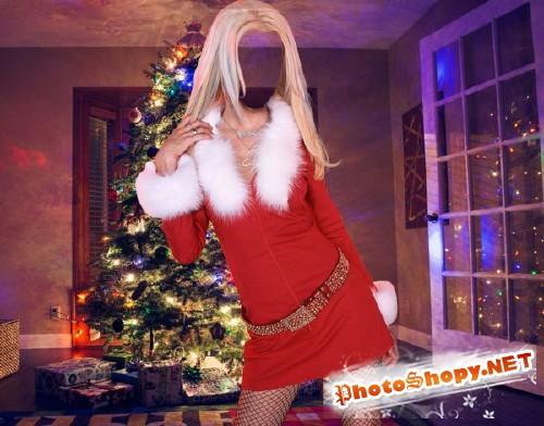 Шаблон женский - У новогодней елки
