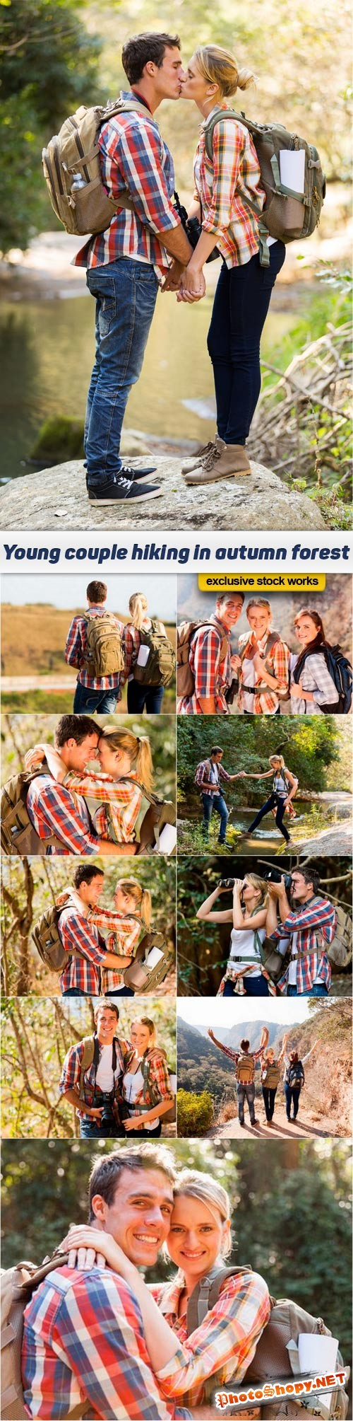 Young couple hiking in autumn forest - 10 UHQ JPEG