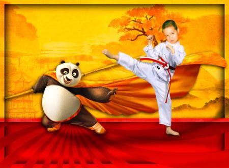 Фотошаблон для фотошоп - В спаринге с пандой