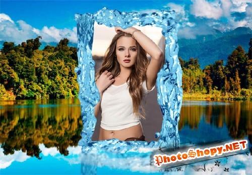 Фоторамка для фотошопа - Озеро в горах
