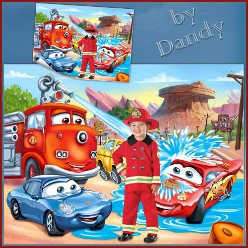Шаблон для мальчика - Маленький пожарник с Тачками