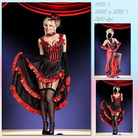 Женский фотошаблон - Танцовщица в кабаре
