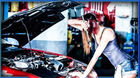 Шаблон для фотошопа - Девушка в автомастерской