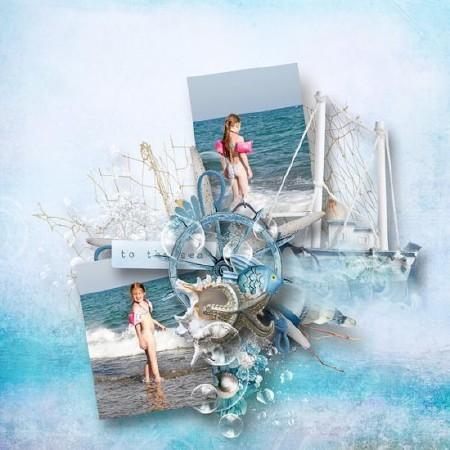 На фоне морского парусника - скрап - элементы