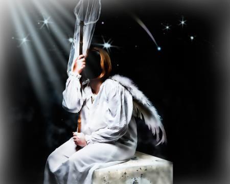 Psd шаблон - Девушка ангел с сочком