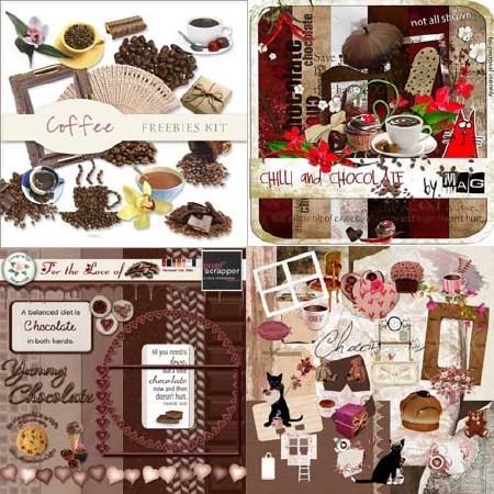 Шоколадно - кофейная - набор скрап деталей