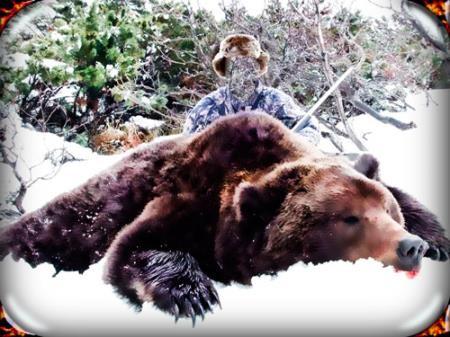 Шаблон фотошоп для фотошопа - Охотник с тушью медведя
