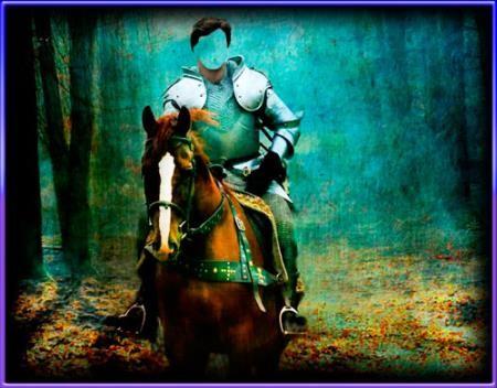 Шаблон для фото - Рыцарь на коне в лесу