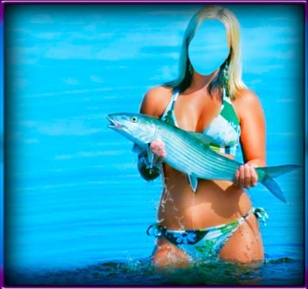 Фртошаблон женский - Девушка с рыбиной