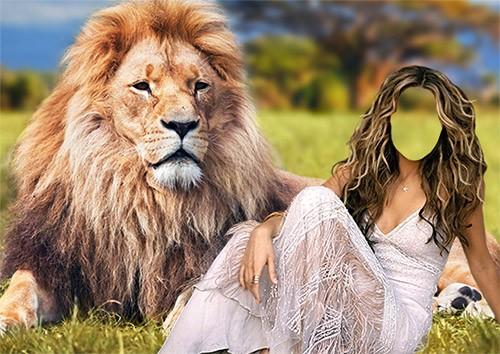 Шаблон psd - Девушка и лев