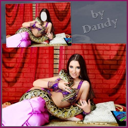Шаблон для фотошопа - Девушка с питоном