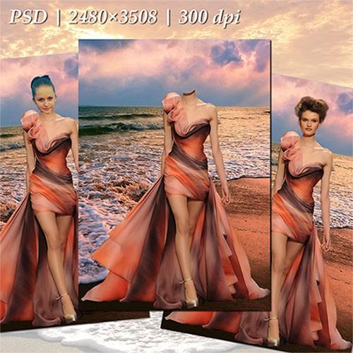 Женский фотошаблон - В лучах заката