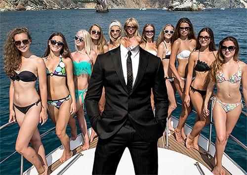 Мужской фотошаблон - На яхте с девушками